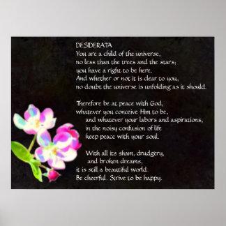 Póster Poster cósmico de los flores de los DESIDERÁTUMS