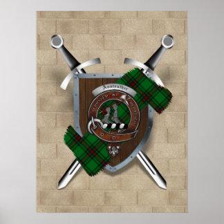 Póster Poster cruzado insignia 18x24 de las espadas del