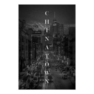Póster Poster de Chinatown NYC BW