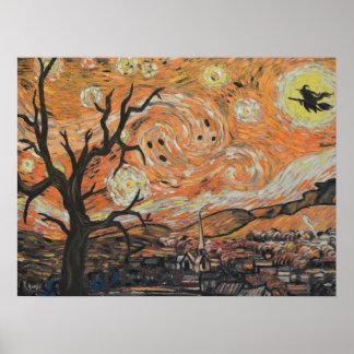 Póster Poster de Halloween de la noche estrellada