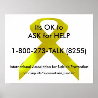 Póster Poster de la ayuda de la conciencia del suicidio