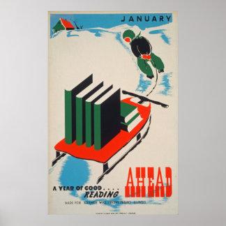 Póster Poster de la biblioteca del vintage