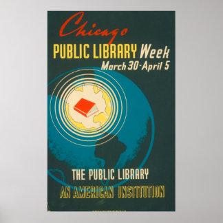 Póster Poster de la biblioteca pública del vintage de