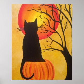 Póster Poster de la calabaza del gato negro de Halloween