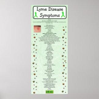 Póster Poster de la carta de los síntomas de la