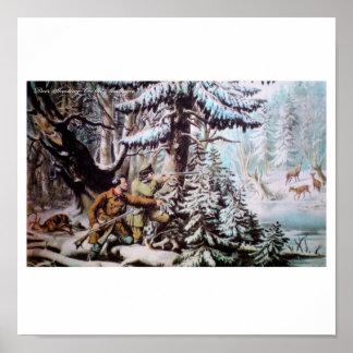 Póster Poster de la caza de los ciervos