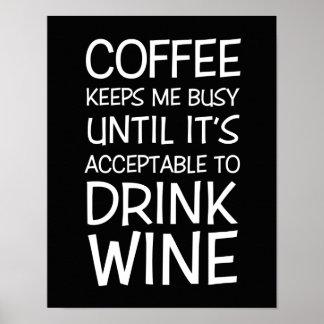 Póster Poster de la cita de la diversión del café y del v