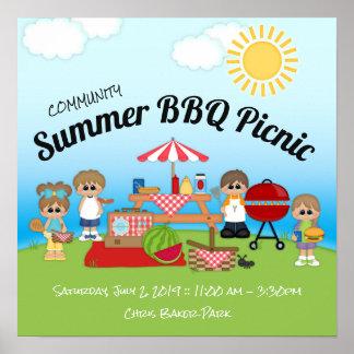 Póster Poster de la comida campestre del Bbq del verano