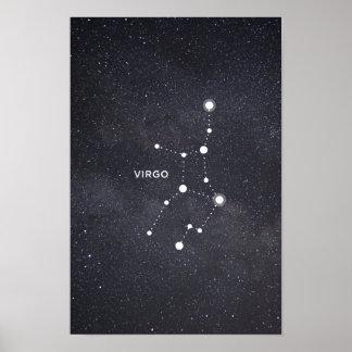Póster Poster de la constelación del zodiaco del virgo