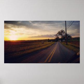 Póster Poster de la granja de la puesta del sol