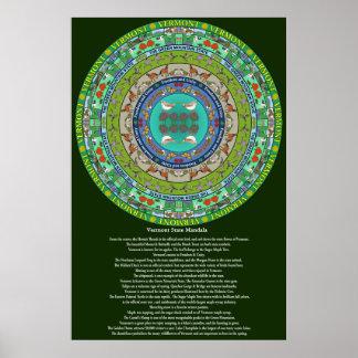 Póster Poster de la mandala del estado de Vermont
