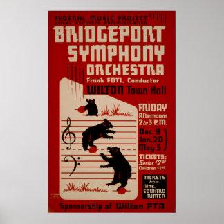 Póster Poster de la música del vintage de la orquesta