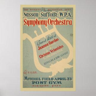 Póster Poster de la música del vintage de WPA de la