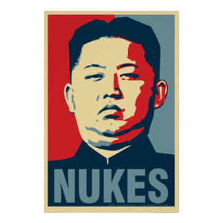 "Póster Poster de la parodia de Obama de las ""armas nuclea"