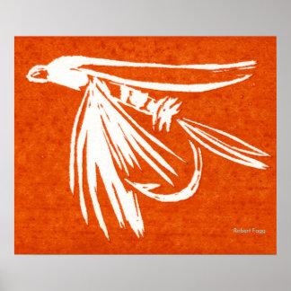Póster Poster de la pesca con mosca de la mosca mojada