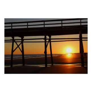 Póster Poster de la playa de la puesta del sol