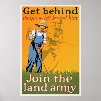 Póster Poster de la propaganda de WWI - consiga detrás