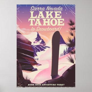 Póster Poster de la snowboard del lago Tahoe Sierra