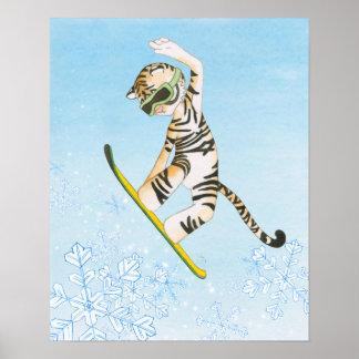 Póster Poster de la snowboard del tigre