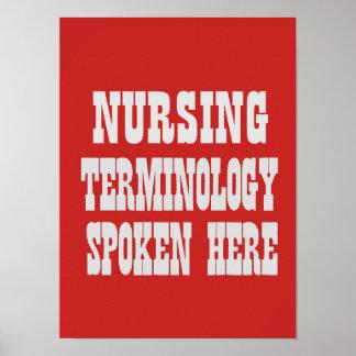 Póster Poster de la terminología del oficio de enfermera