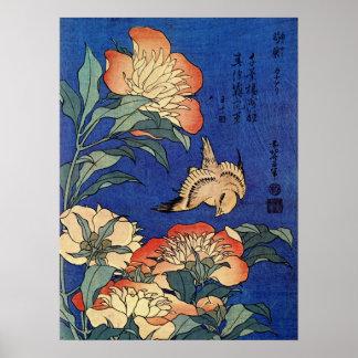 """Póster Poster de las """"flores"""" de Hokusai"""