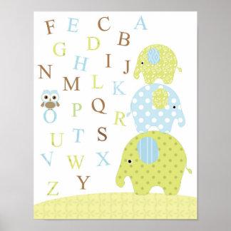 Póster Poster de los alfabetos del búho de los elefantes