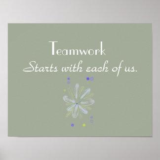 Póster Poster de motivación del trabajo en equipo