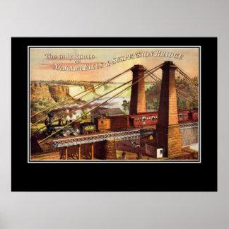 Póster Poster de Niagara Falls y de puente colgante