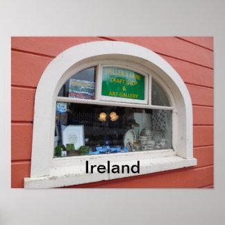 Póster Poster de una ventana de la tienda en Irlanda