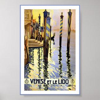 Póster Poster de Venise Lido de la góndola de Venecia