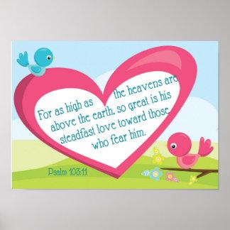 Póster Poster del amor de dios del 103:11 del salmo gran