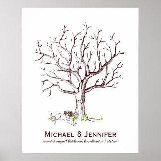 Póster Poster del árbol de la huella dactilar del boda