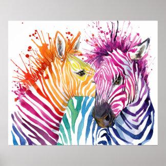 Póster Poster del arco iris de la cebra