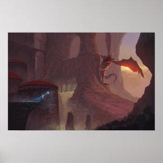 Póster Poster del ataque 24x16 del dragón