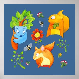 Póster Poster del azul de la diversión del arbolado