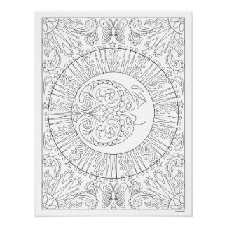 Póster Poster del colorante de la luna - poster celestial