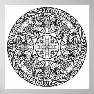 Póster Poster del colorante del océano de la anémona de