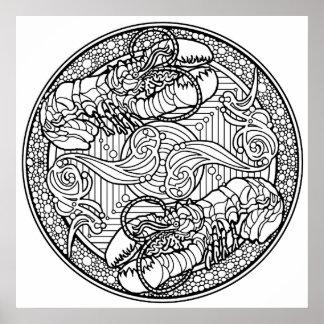 Póster Poster del colorante del océano de la langosta del