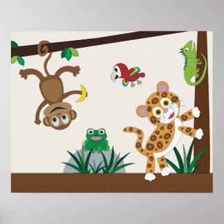 Póster Poster del cuarto de niños de la selva de la selva