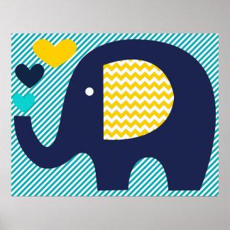 Póster Poster del cuarto de niños del elefante de la