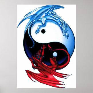 Póster Poster del dragón de Yin Yang