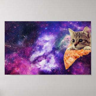 Póster Poster del gato de la pizza del espacio