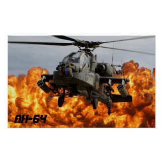 PÓSTER POSTER DEL HELICÓPTERO DE AH-64 APACHE