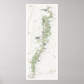 Póster Poster del mapa de Shenandoah