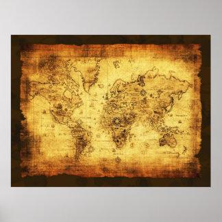 Póster Poster del mapa de Viejo Mundo del vintage de los