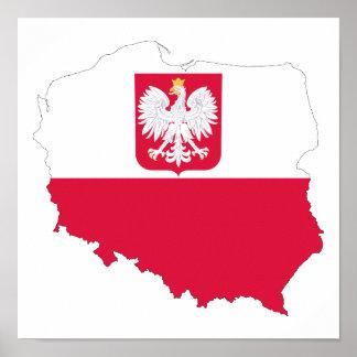 Póster Poster del mapa del emblema de Polonia