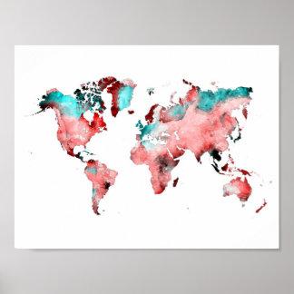 Póster poster del mapa del mundo