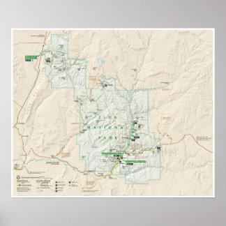 Póster Poster del mapa del parque nacional de Zion (Utah)