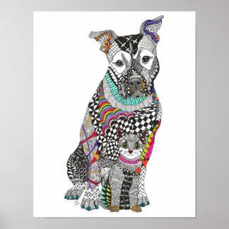 """Póster Poster del perro y del gato - 11"""" x14"""" (usted"""