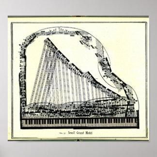 Póster Poster del piano de cola del vintage